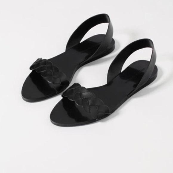 Zara Black Braided Strap Flat Sandals